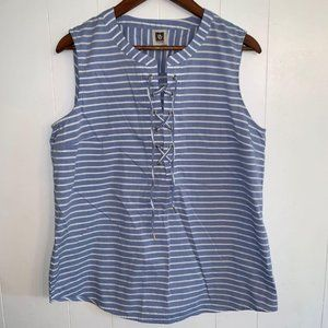 3-20$Anne Klein lace up striped tank